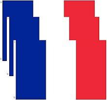BigTree Lot de 3 Drapeau Francais 150 x 90 cm Deux