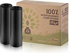 BIOOK 100% Compostables Sacs poubelle, 50L, 50