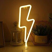 Bipily LED forme de foudre enseigne au néon