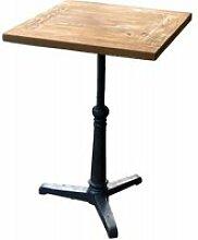 Bistrot - table haute carrée 60 cm acier et bois