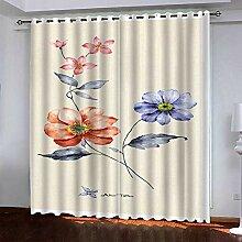 BKTTDS Rideau Salon Occultant Moderne - 3D Fleurs