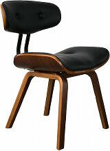 BLACKWOOD - Chaise aspect cuir et bois noyer