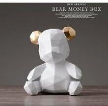 blanche Tirelire avec Figurines d'ours en