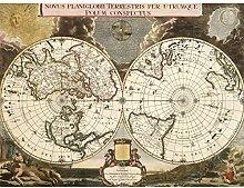 Bleau 1695 Grande carte du monde et hémisphères
