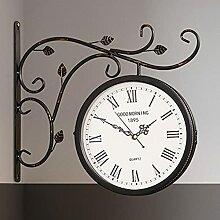 BLKJ Noir étanche Horloge de Gare Vintage pour