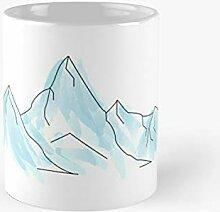 Blue Watercolour Mountains Glaciers Classic Mug