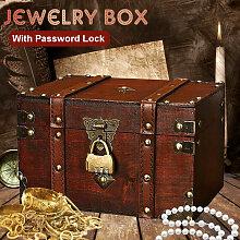 Bo?te à bijoux en bois Vintage avec serrure par