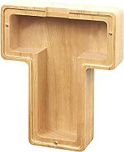 BOBOA Tirelire en bois avec 26 lettres de
