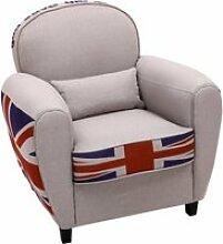 Bobochic fauteuil club design busby drapeau anglais