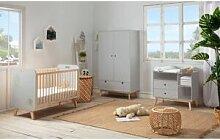 BOBOCHIC Lit bébé YORGA 60x120 cm Gris avec