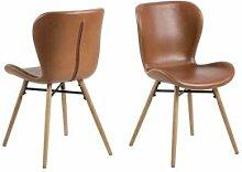 BOBOCHIC Lot de 2 chaises de table BALA marron