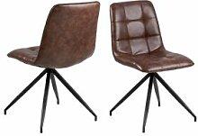 BOBOCHIC Lot de 2 chaises de table CAPOL marron