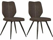 Bobochic lot de 2 chaises de table mike marron