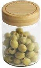 Bocal en verre avec couvercle en bambou 450 ml