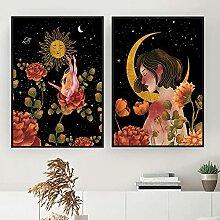 Boho Witchy Floral Print Affiche Céleste Lune