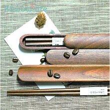Boîte à baguettes en bois de noyer noir brun de