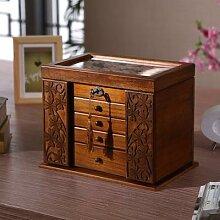 Boîte à bijoux en bois avec serrure, boîte de