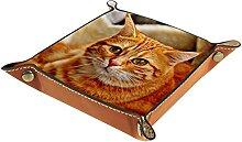 Boîte à bijoux en cuir avec motif de chat pour