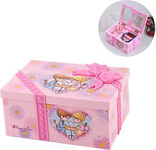 Boîte à bijoux musicale rose en plastique carré