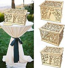 Boîte à cartes de mariage en bois, bricolage,