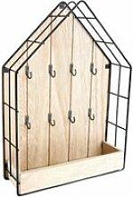 Boite à clés métal et bois home 35 cm