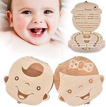 Boîte à dents en bois pour bébé, boîtier de