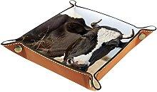 Boîte à montre en cuir motif vache pour homme et