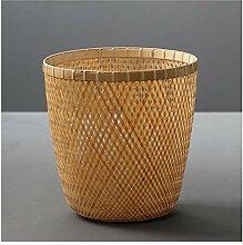 Boîte à ordures Poubelle en bambou cannée à