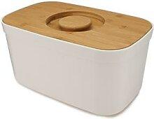 Boîte à pain blanc couvercle bambou 35,5 cm