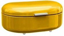 Boite à pain en métal jaune - five