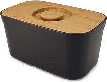 Boîte à pain noir couvercle bambou 35,5 cm