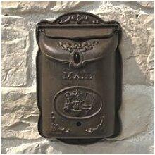 Boîte aux lettre courrier en fonte marron massive