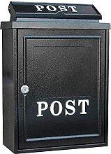 Boîte aux lettres murale noire étanche avec