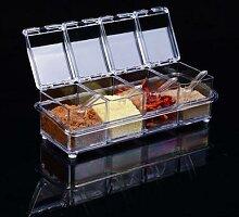 Boîte d'assaisonnement transparente à 4
