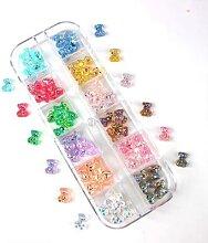 Boîte de 12 grilles 60 pièces 3D ours/papillon