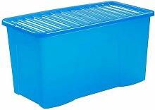 Boîte de rangement bleue | 110 l | Avec couvercle