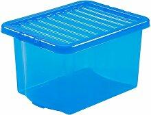 Boîte de rangement bleue | 24 l | Avec couvercle