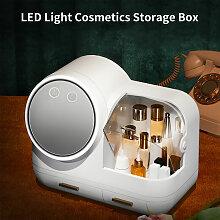 Boite de rangement cosmetique LED creative, blanc