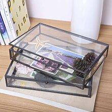 Boîte de rangement de bijoux en verre,