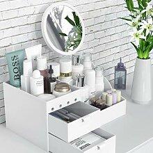 Boîte de rangement de maquillage à miroir LED,