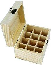 Boîte de rangement en bois à 12 fentes pour