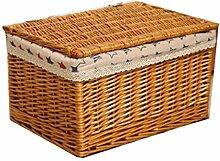 Boîte de rangement en osier avec panier (Color :