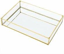 Boîte de rangement en verre en métal vintage,