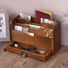 Boîte de rangement multifonctions en bois, bureau