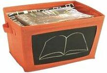Boîte de rangement pliable avec ardoise - Orange