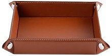 Boîte de rangement pliable en cuir PU, plateau