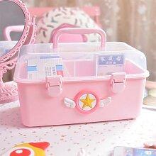 Boîte de rangement Portable rose de dessin