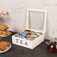 Boîte organisateur de thé décoratif en bois