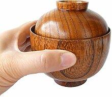 Bol japonais en bois avec couvercle, bol en bois