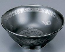 Bol japonais en forme de dragon argenté émaillé